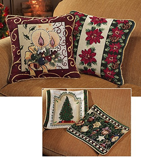 Reversible Holiday Throw Pillow Covers - Set of 2