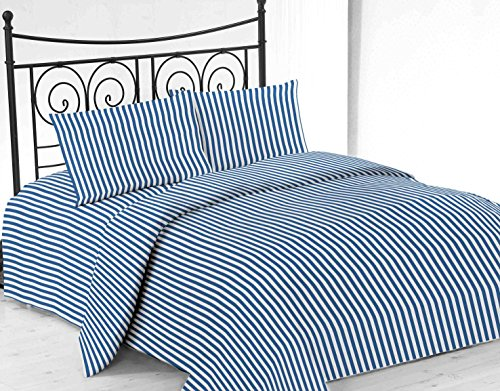 United Linens printed striped 4 piece sheet sets Brushed Microfiber 1800 Bedding - Wrinkle, Fade, Stain Resistant - Hypoallergenic - 4 Piece (full, blue) (Hotel New York 800 Thread Count compare prices)