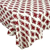 "Handmade Indian 60"" X 90"" Rectangular Tablecloth - Beautiful Red And Cream Floral Cotton"