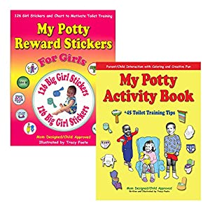 Potty Training Kit: Toddler Girl Reward Stickers, Chart, Coloring Activity Book, and the Best 45 Parent Toilet Training Tips for Positive Reinforcement