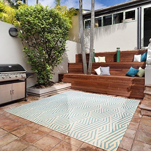 Gertmenian Platinum Seneca Modern Outdoor Furniture Rug, 9x9 Square, Gold Aqua Blue