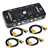 ieGeek KVM Switch Box 4 Port PC Monitor Switches Box + 4 x USB VGA Cables for Computer/Keyboard/Mouse Monitor, Plug and Play (Color: 4 port, Tamaño: 4 port)