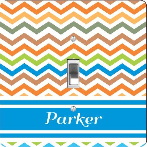 "Rikki Knighttm ""Parker"" Blue Chevron Name - Single Toggle Light Switch Plate front-587461"
