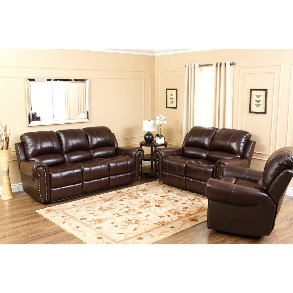 Abbyson Living Lexington Dark Burgundy Italian Leather Reclining Loveseat and Sofa Set