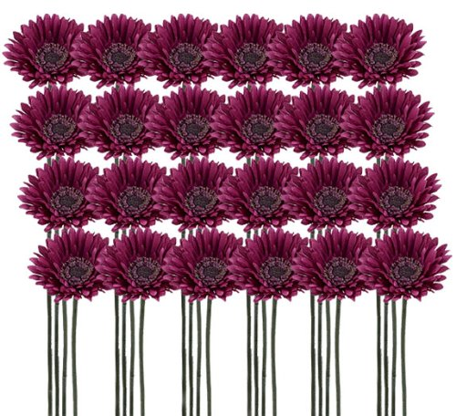 "24 Pieces of 21"" Gerbera Daisy Artificial Silk Flower Sprays with Bendable Stems"