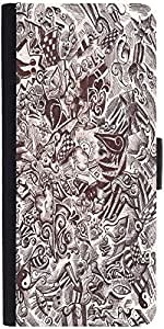 Snoogg Sketch Black And White Designer Protective Flip Case Cover For Sony Xp...