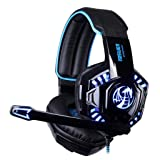 Kinglory Noswer Professional Gaming Headset LED Light Earphone Headphone with Microphone (Black) (Color: Black)