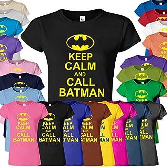 SnS Online Bat man Comic Super hero Frauen Damen Mädchen fitted passten Tee T-Stück T-Shirt Sweatshirt Top Neues Design Keep Calm Batman T-Shirt - Schwarz ( Black ) - S - To Fit: EU 38