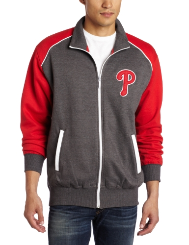MLB Men's Philadelphia Phillies Legendary Convertible Collar Track Jacket (Pro Grey/Pro Scarlet, Large) at Amazon.com