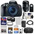 Canon EOS Rebel T5i Digital SLR Camera & 18-135mm IS STM Lens with 70-300mm Lens + 64GB Card + Case + Battery/Charger + Tripod + Tele/Wide Lens Kit
