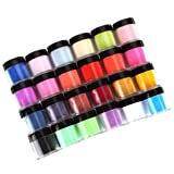 Acrylic Nail Powder, Sixpi 24 Colors Acrylic Nail Art Tips Design Powder Dust - UV Gel Nail Acrylic Color Powder Decoration 3D Manicure (24 Colors Nail Art) (Color: 24 Colors Nail Art)
