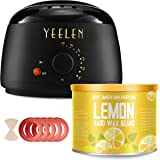 ?Lemon Essential Oil?Yeelen Wax Warmer Hair Removal Waxing Kit with Essential Hard Wax Beans 10.58oz and 10 Wax Applicator Sticks At-home Waxing