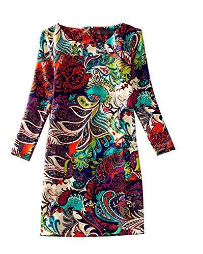 J.cotton Autumn /Winter Floral Print Long Sleeve A-line Midi Casual Dress (L, J-D-4)