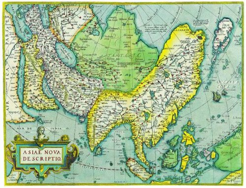 12X16 inch Rare Antique Map Canvas Art Asia Map