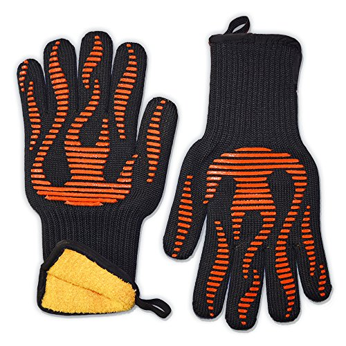 BBQ Craft Grilling Gloves - ★★ EXCLUSIVE Luxury Liner ★★ Only Glove With Easy Open Cuff ★ Quality Guaranteed ★ The Perfect Oven Glove For Baking, Meat Smokers, Pit Grills, Dutch Ovens, and Campfire Cooking. (Dutch Oven Smoker compare prices)