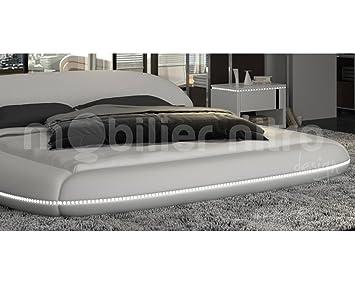 lit rond lismore blanc 200cmx200cm 200cmx200cm blanc avec matelas special dos reveluxe. Black Bedroom Furniture Sets. Home Design Ideas