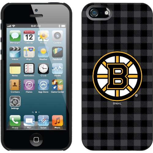 Great Sale Boston Bruins« - Plaid design on a Black iPhone 5s / 5 Thinshield Snap-On Case by Coveroo