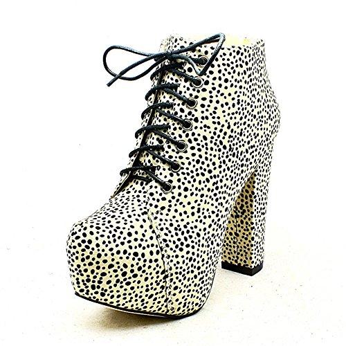 White / Black dalmatian print block heel ankle boots