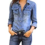 Funic Clearance Deal !Classy Womens Blue Jean Denim Long Sleeve Shirt Tops Blouse Jacket (XS (US S), Blue) (Color: Blue, Tamaño: XS (US S))