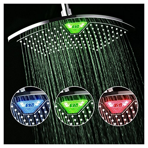 DreamSpa-AquaFan-12-inch-All-Chrome-Rainfall-LED-Shower-Head-with-Color-Changing-LEDLCD-Temperature-Display