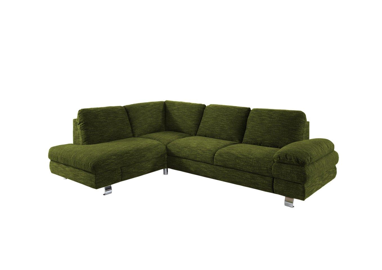 Newlevel B0013-90-0081-V2 Polsterecke Manhattan mit Schlaffunktion und Recamiere links mit Schubkasten, Flachgewebe, 193 x 260 x 86 cm, grün