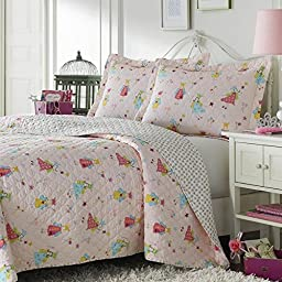 2 Peice Twin Quilt Bedspreads for Teenage Girls, Reversible Bedding, Cute Flying Fairies, Princess Crowns Magic Wands, Pink White Floral Hearts