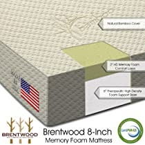 "Hot Sale Brentwood 8"" HD Memory Foam Mattress - 100% Made in USA - CertiPur Foam - 25-Year Warranty, Natural Bamboo Cover, Twin Size"