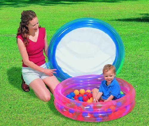 Pink Bestway 2-Ring Pool with 50 Balls