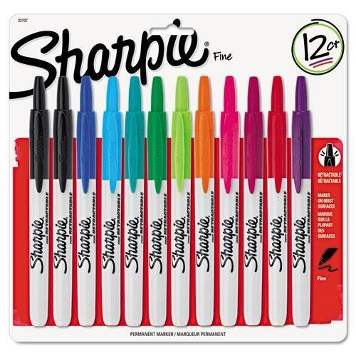sharpie-32707-retractable-permanent-markers-fine-point-asstd-12-set-by-sharpie