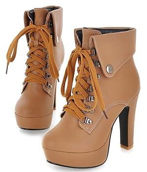 IDIFU Women's Sexy Chunky High Heel Lace Up Martin Ankle Boots Apricot 6 B(M) US