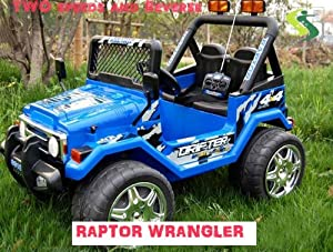 Kt New 12 Volt Ride on Toy Truck Raptor Wrangler Kids Electric Car 2 Motors (Kts618 Blue)