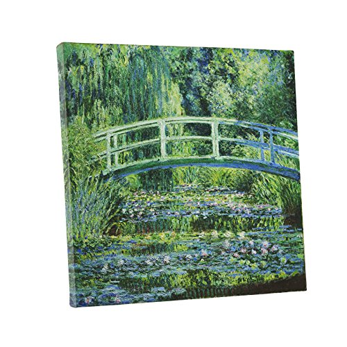Niwo Art (TM) - Water Lilies and Japanese Bridge, by Claude Monet - Oil painting Reproductions - Giclee Canvas Prints Wall Art for Home Decor, Stretched and Framed Ready to Hang