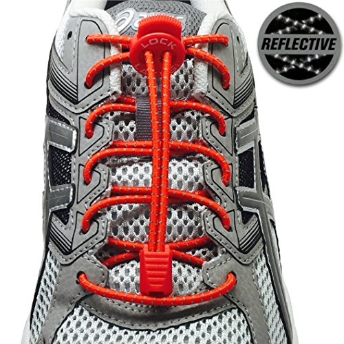 LOCK LACES Reflective (Elastic No Tie Shoelaces) (Racing Red) (Lock Laces Red compare prices)
