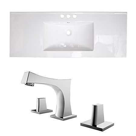 "Jade Bath JB-15812 48"" W x 18"" D Ceramic Top Set with 8"" o.c. CUPC Faucet, White"