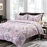 Bedsure Flourish Floral Design Quilt Set Printed Patchwork Quilt Bedspread and Coverlet -- Quilt and Sham, Hypo-allergic and Lightweight -- King, Floral Marrakesh, Crimson/Blue