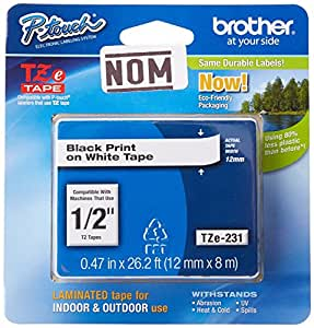 Brother Laminated Black on White Tape (TZe231)