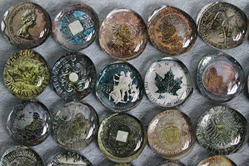 Geocache Glass Refrigerator Magnets - World Coins (15 Piece Set) front-175509