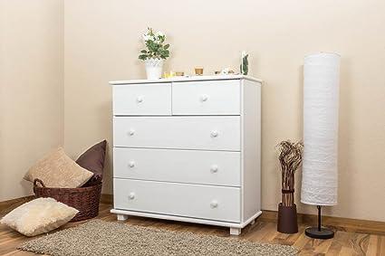 Commode bois du pin massif blanc 021 - Dimensions: 100 - 100 - 42 cm (H - L - P)
