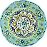 "Le Cadeaux Madrid Turquose 11"" Round Dinner Plate"
