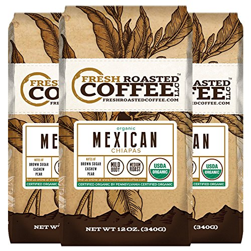 Mexican Chiapas Organic Coffee, Whole bean coffee, Fresh Roasted Coffee LLC. (Pack of 3)