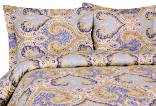 Elite Home Products Milano Paisley Collection 300 Thread Count Sateen 3-Piece Duvet/Sham Set, King, Blue front-213526
