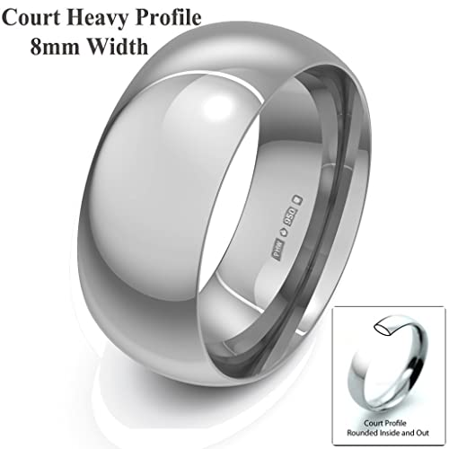 Xzara Jewellery - Palladium 500 8mm Heavy Court Profile Hallmarked Ladies/Gents 10.0 Grams Wedding Ring Band