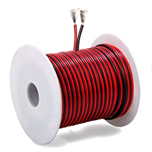 100FT 18 AWG Gauge Electrical Wire, Premium DC 12v Hookup Red Black Copper Stranded Auto 2 Cord, Flexible Extension Cable with Spool for LED Ribbon Lamp Light or Low Voltage Products by MILAPEAK (Tamaño: c) 100FT 18 AWG Gauge Stranded Electrical Wire)