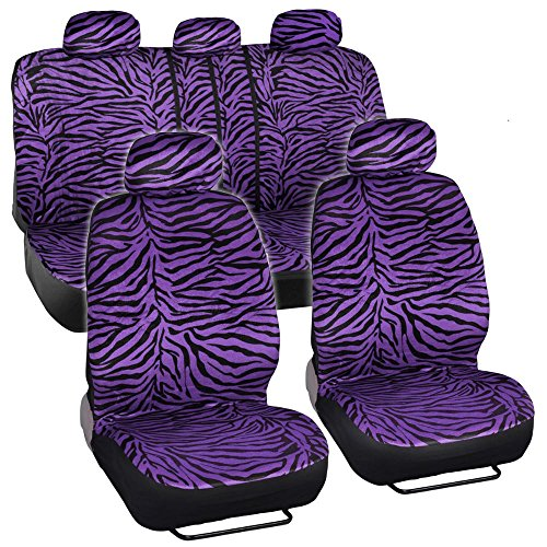 Purple Animal Print Zebra Seat Covers Set w/ Split Bench for CAR SUV VAN (Purple Zebra Back Seat Cover compare prices)
