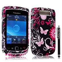 FOR Blackberry Torch 9800 Butterfly Design Hard Case Cover + Stylus Touch Pen