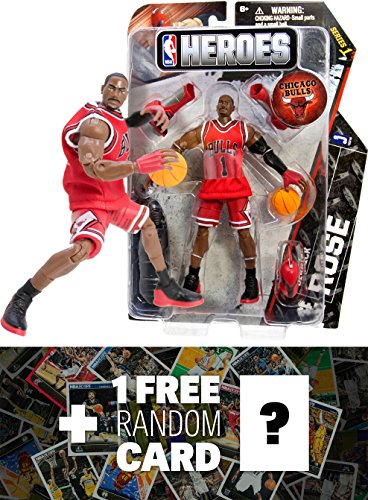 Derrick Rose - Chicago Bulls #1: NBA Heroes Action Figure Series + 1 FREE Official NBA Trading Card Bundle