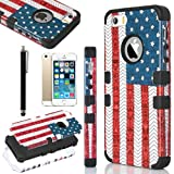 Pandamimi ULAK(TM) Fashion Pattern Hybrid High Impact Soft TPU + Hard PC Case Cover for Apple iPhone 5S and iPhone 5 with Screen Protector and Stylus (USA+Black) Reviews