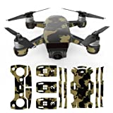 Inverlee Luxury Waterproof Decal Skins Carbon Fiber Skin Wrap Stickers Vinyl Skin Wrap Body Protector for DJI Spark Mini Drone (D) (Color: D)