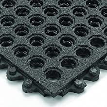 "Wearwell Rubber 576 24/Seven GritWorks Anti-Fatigue Solid Mat, for Wet Areas, 3' Width x 3' Length x 5/8"" Thickness, Black"