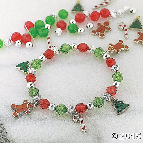 12 Beaded Holiday Charm Bracelet Craft Kits